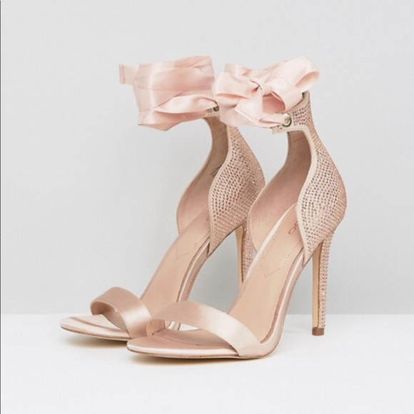 ALDO Mirilian Glitter Satin Tie Ankle Strap Shoe